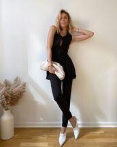 shoes,mules,black pants,black top,tunic,white bag