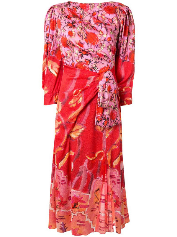 Peter Pilotto floral midi flared dress in red