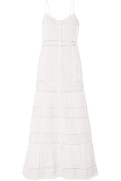 Alice + Olivia Alice Olivia - Pintucked Embroidered Cotton Maxi Dress - White
