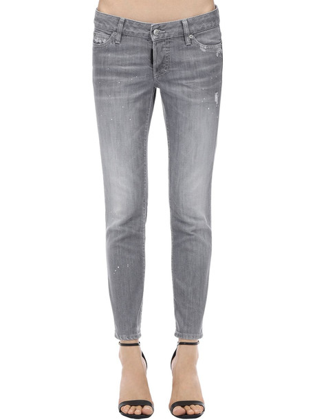 DSQUARED2 Jennifer Cropped Cotton Denim Jeans in grey