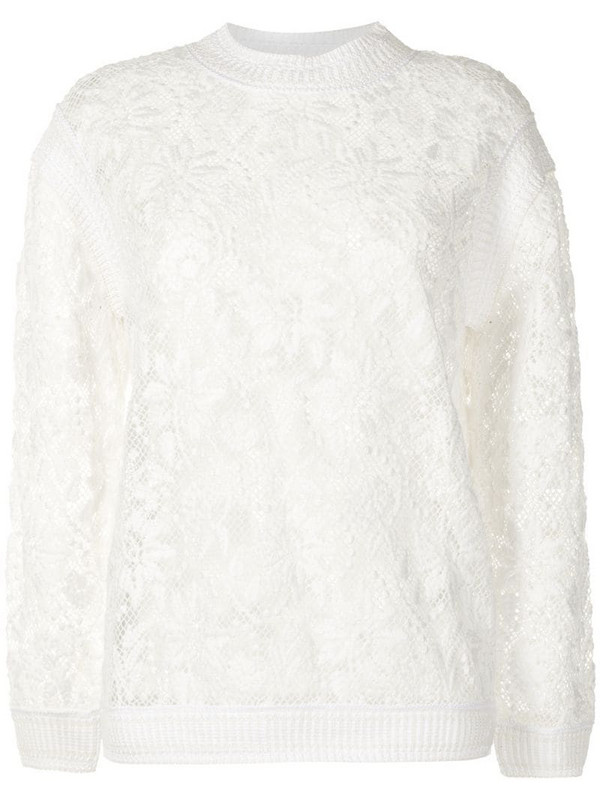 Ermanno Scervino floral-embroidered jumper in white