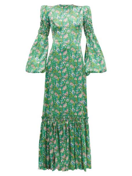 The Vampire's Wife - Festival Floral Print Silk Charmeuse Maxi Dress - Womens - Green Multi