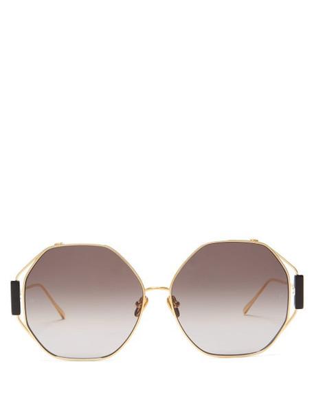 Linda Farrow - Marie Oversized Titanium Sunglasses - Womens - Gold
