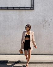 jacket,blazer,double breasted,sandals,black shorts,leggings,sports bra,bag