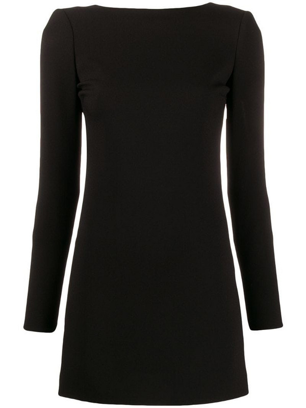 Saint Laurent long-sleeved open back dress in black