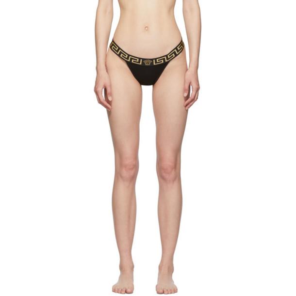 Versace Underwear Black Cotton Medusa Thong