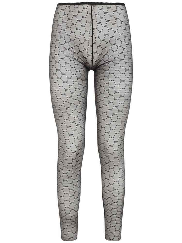 DSQUARED2 Logo Sheer Lace Leggings in black