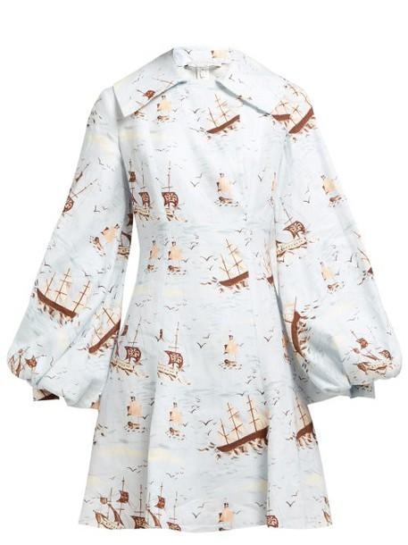 Emilia Wickstead - Marina Ship Print Linen Mini Dress - Womens - Blue Print