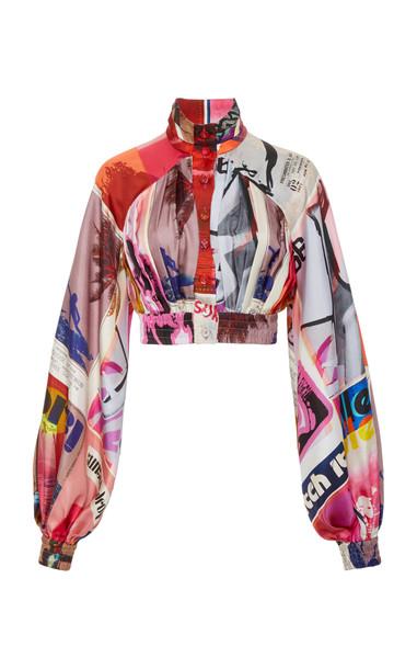 Zimmermann Wavelength High Collar Blouse Size: 0 in pink