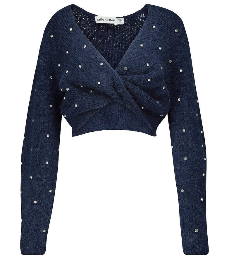 Self-Portrait Embellished cropped sweater in blue
