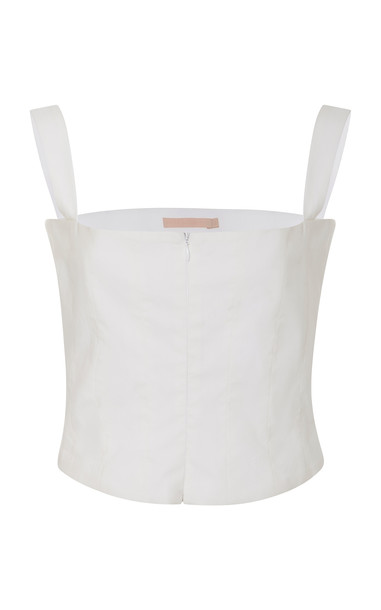Brock Collection Tayten Cotton And Silk-Blend Corset Top Size: 6 in white