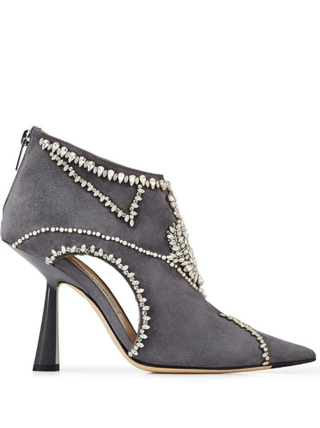 Jimmy Choo Kendrix 100 embellished boots in grey