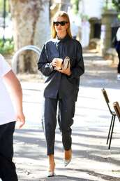 shoes,leather,shirt,pants,rosie huntington-whiteley,model off-duty,spring outfits,navy,pumps,mules