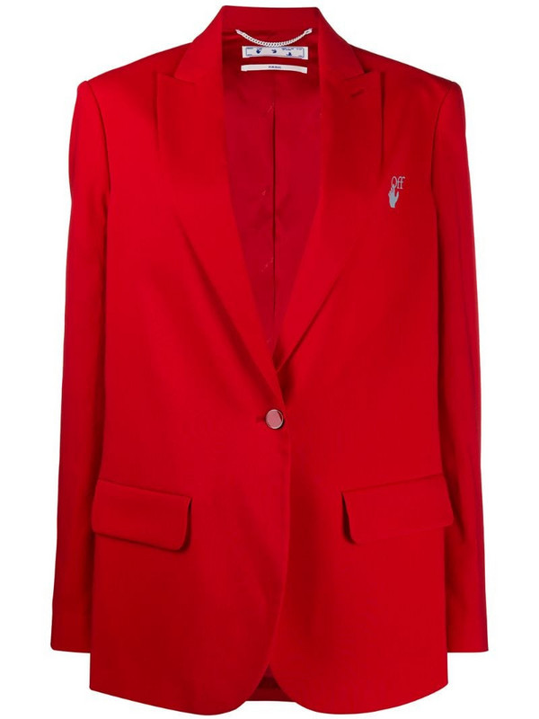 Off-White New Logo single-breasted blazer in red