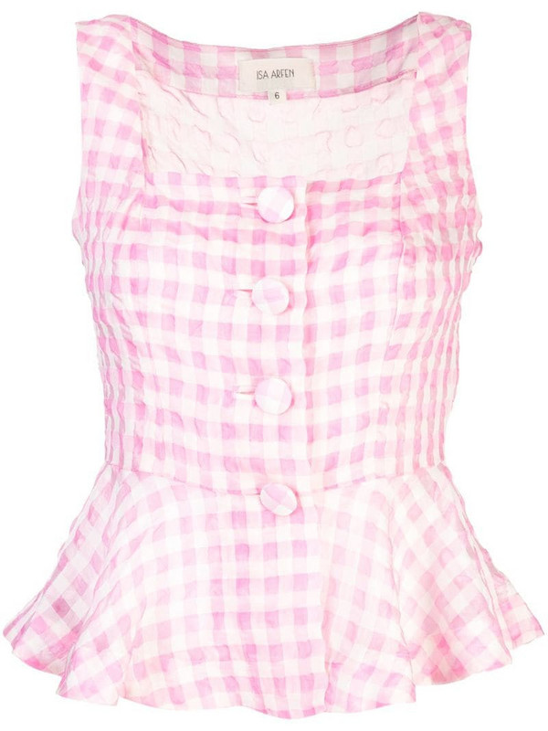 Isa Arfen sleeveless checked blouse in pink