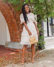 dress,white dress,floral dress,mini dress,sandal heels,handbag