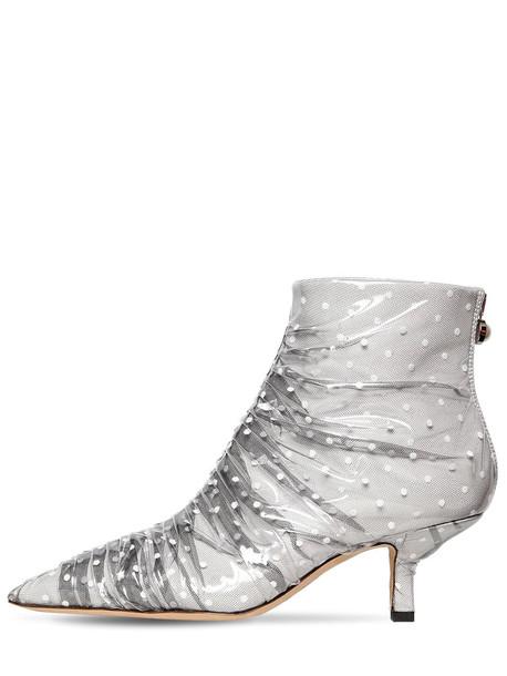MIDNIGHT 00 65mm Antoinette Satin & Tulle Boots in black / white