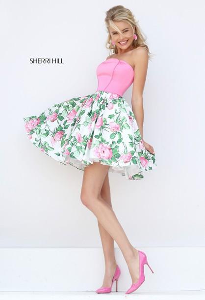 dress sherri hill 50470 short print prom dress