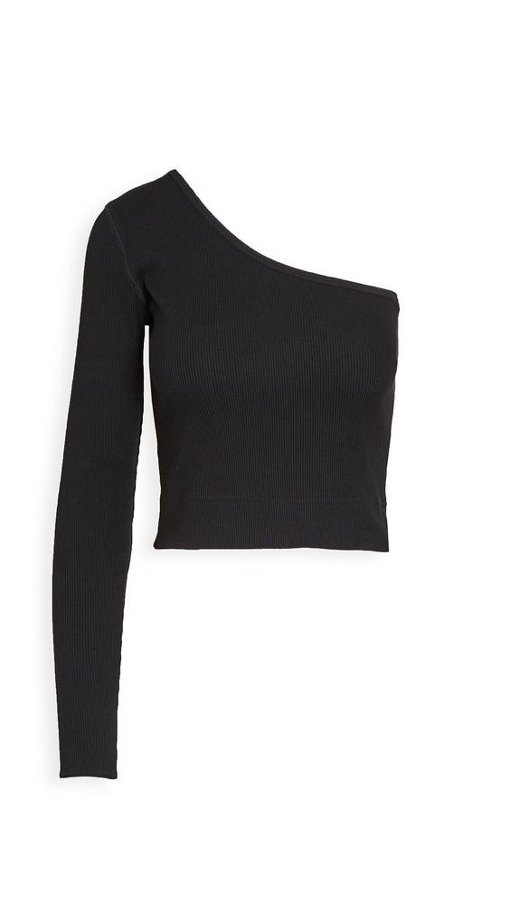 Bassike Rib One Shoulder Crop Top in black