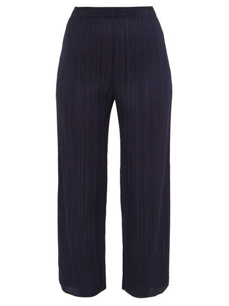 Pleats Please Issey Miyake - Split Cuff Pleated Trousers - Womens - Navy