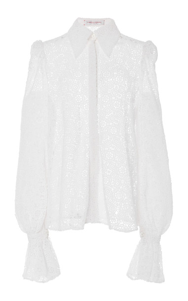 Carolina Herrera Puff-Sleeve Cotton-Blend Shirt Size: 4 in white