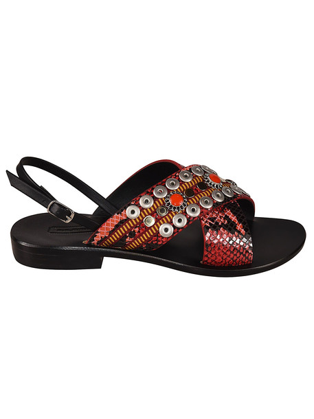 Nanni Studded Detail Sandals in red