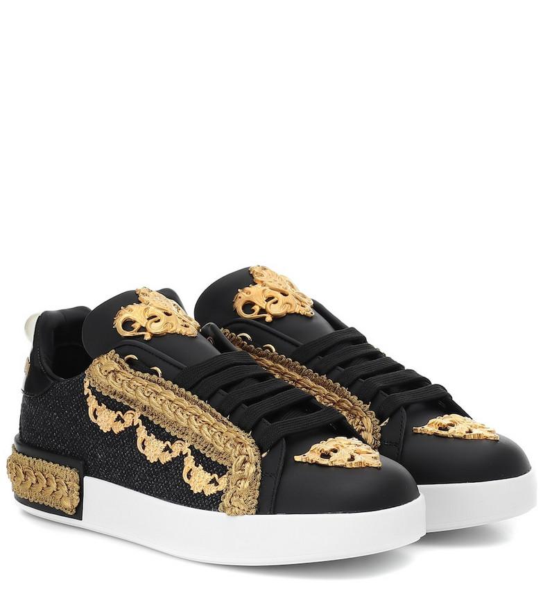 Dolce & Gabbana Portofino leather-trimmed sneakers in black