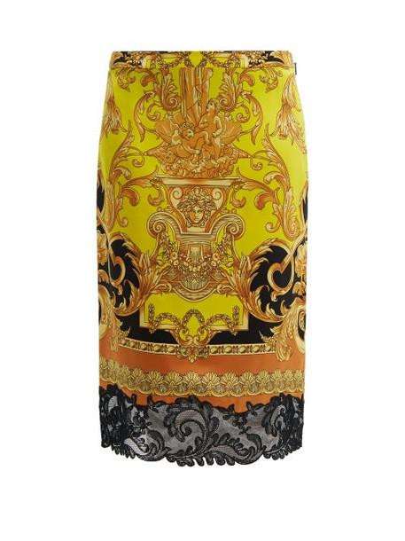 Versace - Lace Trimmed Baroque Print Silk Pencil Skirt - Womens - Black Yellow