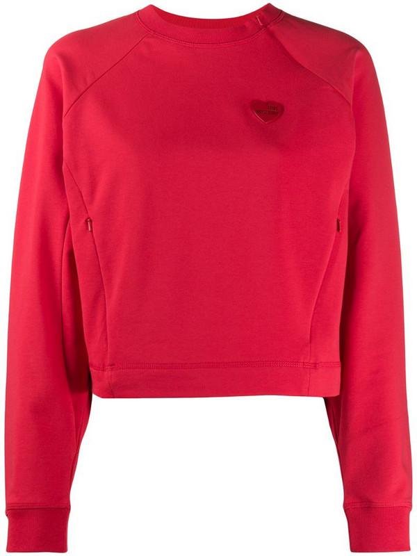 Love Moschino logo cropped sweatshirt in red