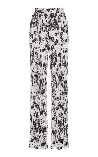 Monique Lhuillier Floral-Print High-Rise Plissé Pants in black