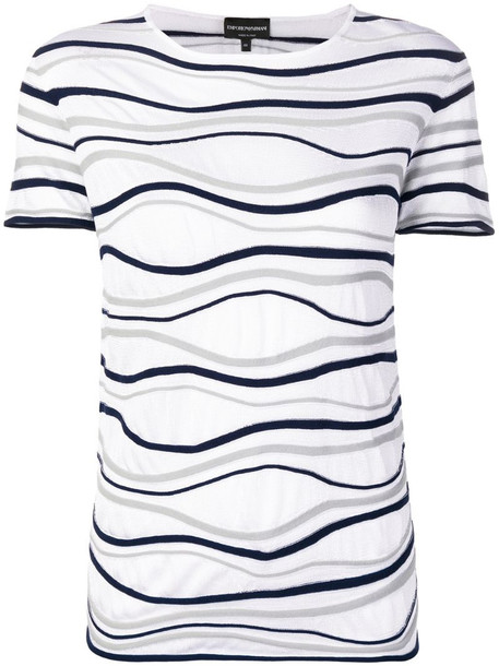 Emporio Armani ribbed detail T-shirt in white