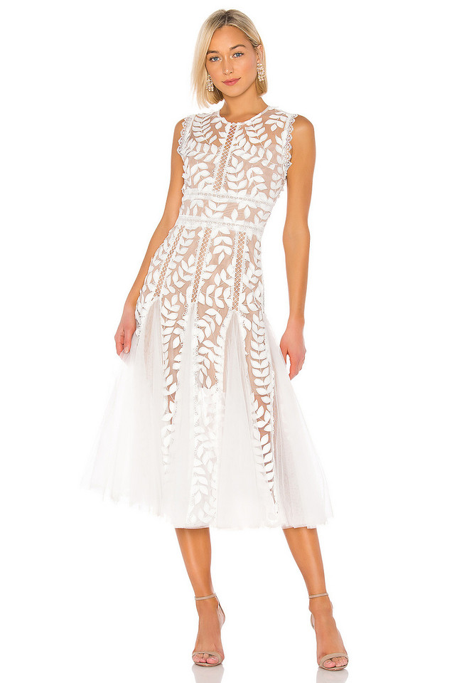 Bronx and Banco Saba Blanc Midi Dress in white