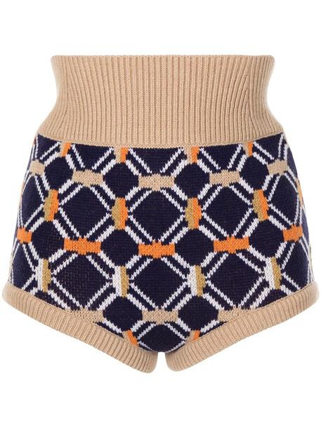 SONIA RYKIEL intarsia wool mini shorts - Blue