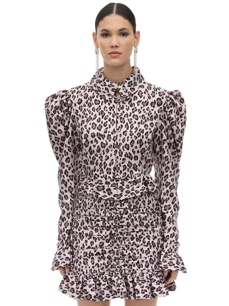 MARIANNA SENCHINA Leopard Print Taffeta Shirt in black / pink