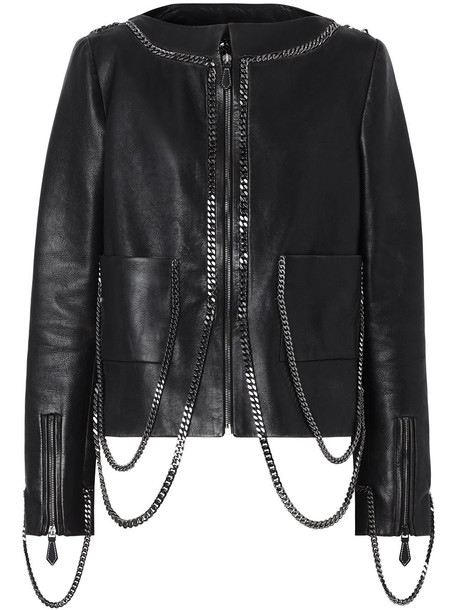 Burberry chain-link detail leather jacket - Black