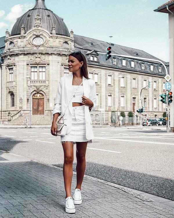 skirt denim skirt high waisted skirt white blazer converse white bag crop tops