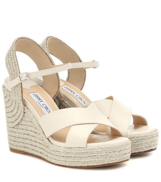 Jimmy Choo Dellena 100 leather-trimmed espadrilles in white