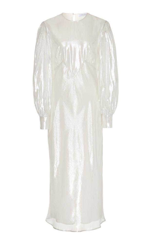 Olivia von Halle Aureta Silk-Lamé Midi Dress Size: XS in silver
