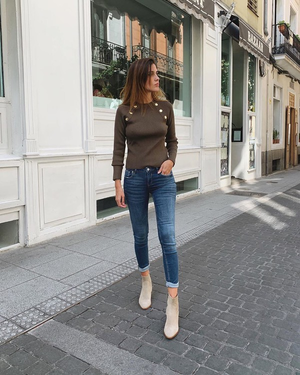 jeans skinny jeans ankle boots top long sleeves