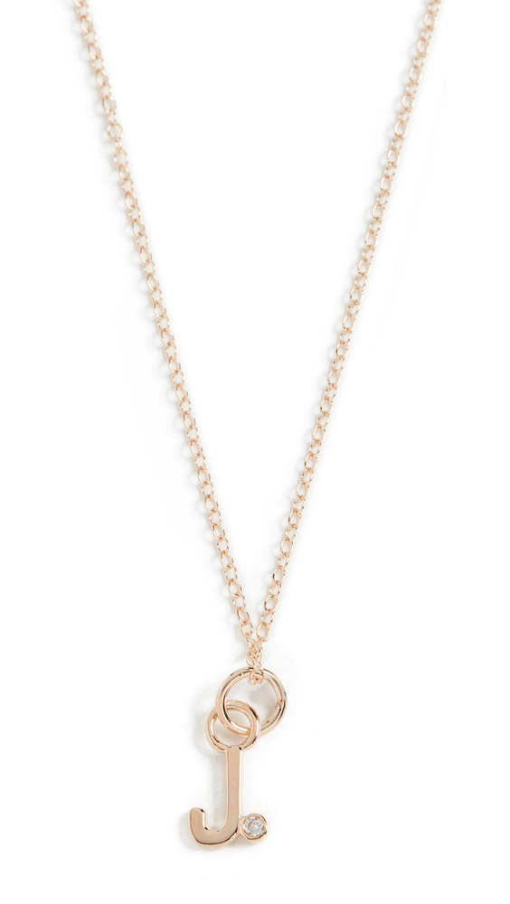 Alison Lou Diamond Bezel Letter Necklace in gold / yellow