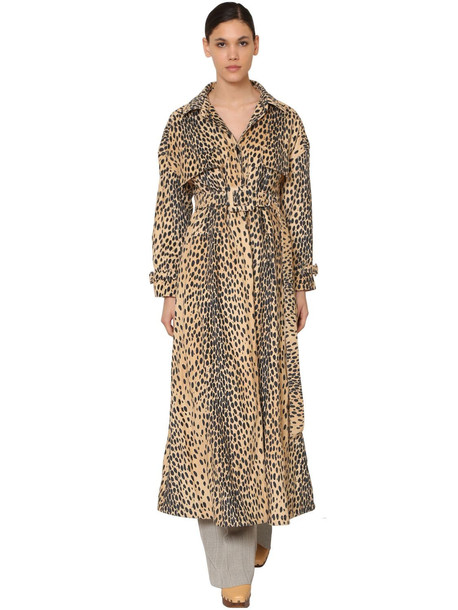 JACQUEMUS Printed Cotton Blend Velvet Trench Coat in leopard