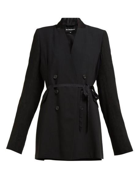 Ann Demeulemeester - Rose Jacquard Sleeve Double Breasted Wool Blazer - Womens - Black