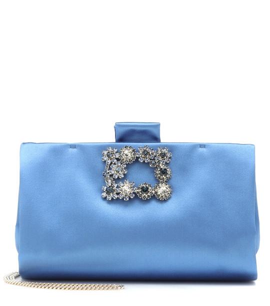 Roger Vivier Soft Flowers satin clutch in blue