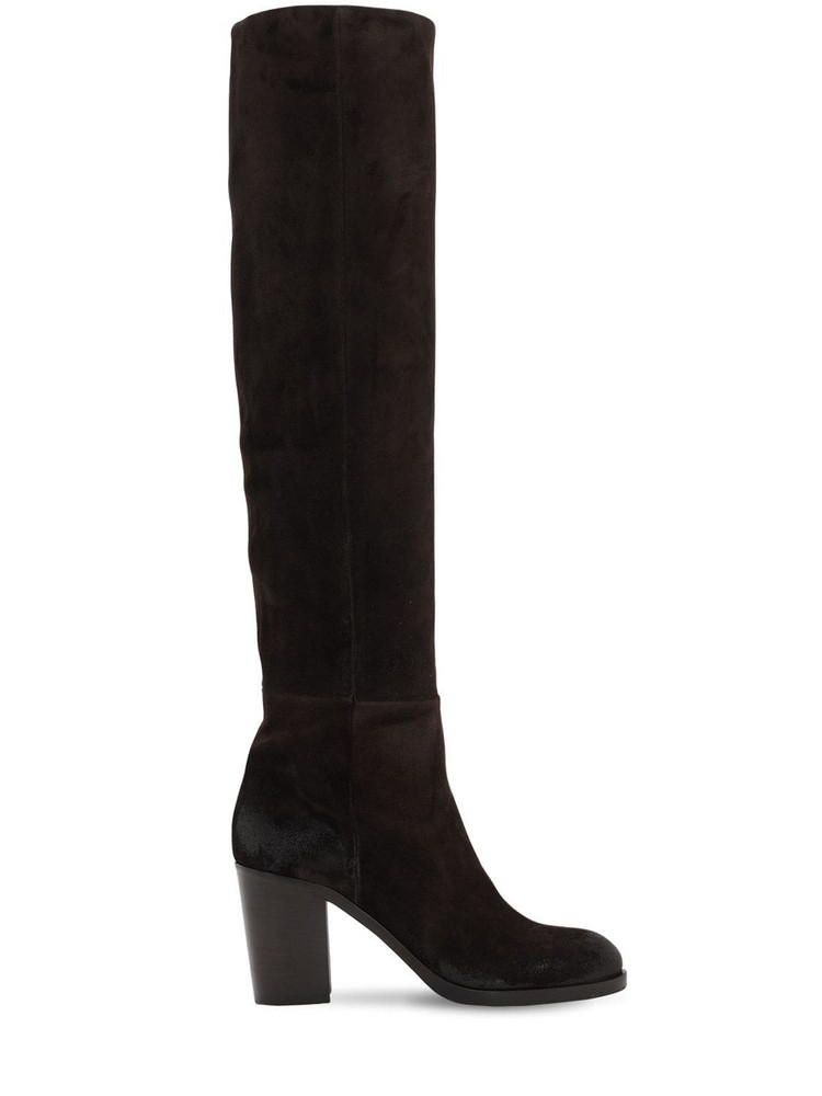 STRATEGIA 80mm Suede Over The Knee Boots in brown