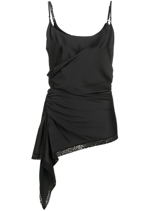 T By Alexander Wang gathered lace-trim top in black