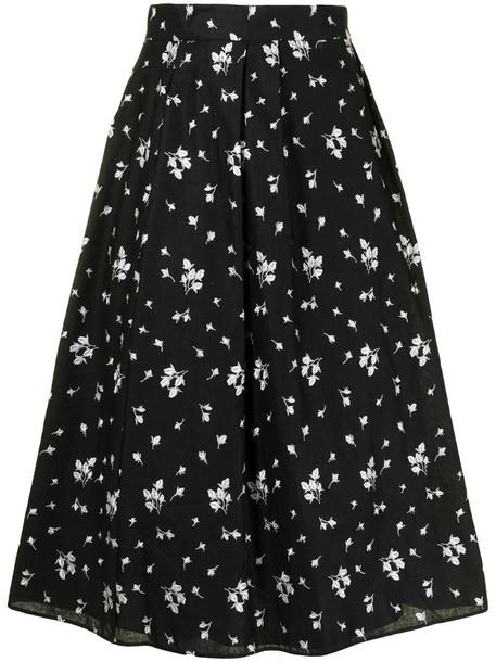 Erdem Reed floral-print midi skirt in black