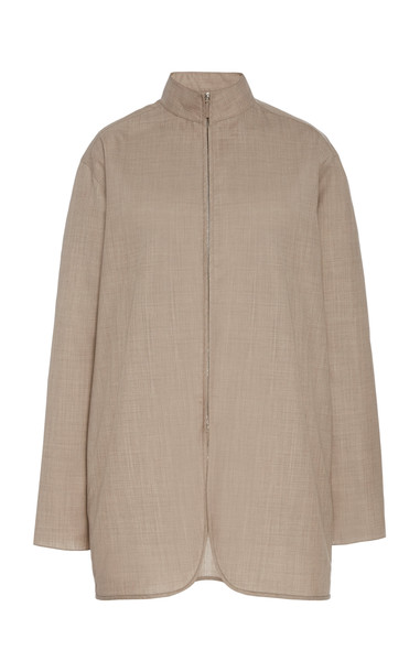 The Row Zana Wool-Blend Zip-Front Shirt Size: S in neutral