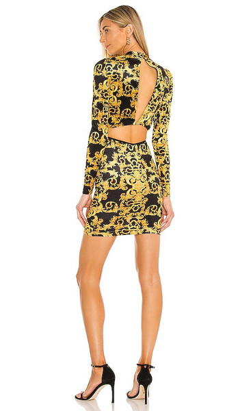 Versace Jeans Couture Logo Baroque Velvet Dress in Yellow in black