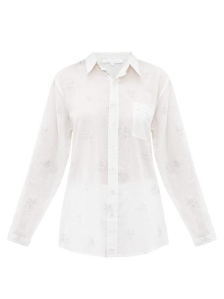 Pour Les Femmes - Oversized Palm Print Cotton Pyjama Shirt - Womens - Grey