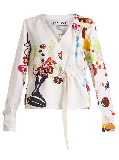 Loewe - Floral And Fruit Print Tie Waist Jacket - Womens - White Multi